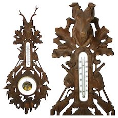 "Antique Black Forest Carved Oak 32"" Fruits of the Hunt Wall Barometer: Stag, Dog, Fox +"