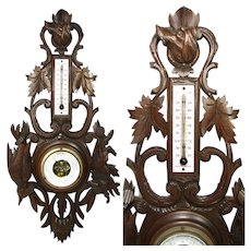 "Antique to Vintage Edwardian Era Black Forest Carved 23"" Wall Barometer, Dog, Boar & Game Bird"