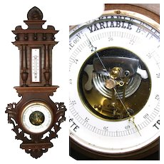 "Antique French or Swiss Carved 26.5"" Wall Barometer & Thermometer, Turned Wood & Foliate Accents"