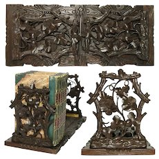 Antique Victorian Black Forest Carved Telescoping Book Rack, Pierced Flowers & Foliage