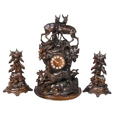"Rare Antique Black Forest 18"" Mantel Clock & Candlestick or Garniture Set, Hunt Theme Stag or Deer Figures"
