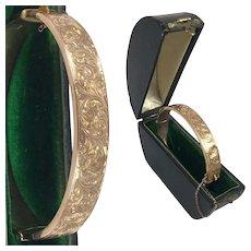 Antique Edwardian English Hallmark 9k Gold Bangle Bracelet, Hinged and Engraved