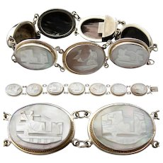 Charming Antique to Vintage Edwardian Carved Shell 7 Cameo Bracelet, Silver