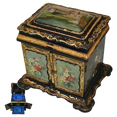 "RARE LG Antique Victorian Era Papier Mache 12"" Chest, HP Floral, Pearl Inlays, Tomb Scene"