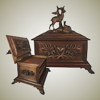 "Antique Black Forest HC Cigar Chest, Cabinet, Box, Chamois Goat Pair 11.75"" Wide, 11.5"" Tall, Holds 40 Cigars on 4 Trays"
