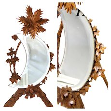 "Antique Black Forest Carved 12.5"" Mirror, Foliate Accents with Crescent Shaped Mirror"