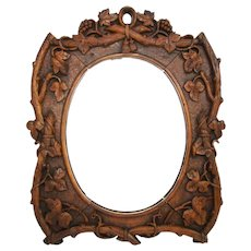 "Antique Black Forest Style Carved Walnut 12"" Vanity or Boudoir Mirror, Ornate Foliage, Signed"