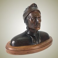 "Antique Hand Carved Wood Bust, Dante Alighieri, (1265-1321), 12"" Tall, Superb!"