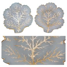 Antique French White Opaline Nut, Candy or Dessert Dish Pair, Leaf Shape, Raised Gold