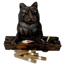 "Antique 19th c. Black Forest Cigar, Smoker's Cabinet, Stand, Box, German Shepherd Dog, 11"" x 8"", Glass Eyes"