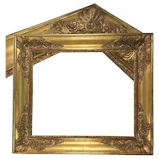 "Superb French Empire Wood and Gold Gesso Frame, Napoleon Era, c.1810, 23"" x 20"", for Mirror or Oil Painting"