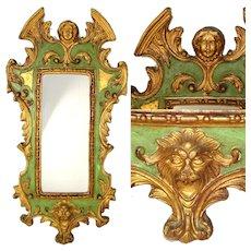 "Fab Vintage Venetian Style 24"" Wall Mirror, Gilt Gesso & Verdigris, Grotesques"