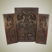"Antique Victorian Carved Wood 3pc 25"" & 22"" Cabinet Panel Set, Neo-Renaissance, Gothic Cornucopia"