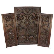 """Antique Victorian Carved Wood 3pc 25"""" & 22"""" Cabinet Panel Set, Neo-Renaissance, Gothic Cornucopia"""