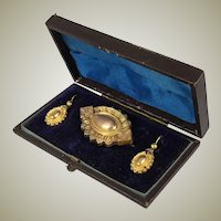 Antique Victorian 14k - 16k Gold Mourning Locket Brooch, Earrings Parure in Box, Case