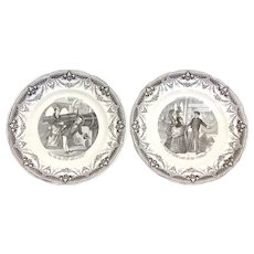"Charming Antique French Figural Cabinet Plate Pair, ""L'Exposition Universelle 1878"""