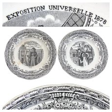"Antique French Figural Cabinet Plate Pair, Figural Souvenirs of ""Exposition Universelle 1878"""