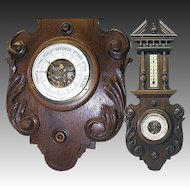 Large Antique Black Forest Carved Case Wall Barometer with Thermometer