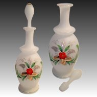 Antique Opaline Decanter, Carafe, Perfume, Hand Painted Floral Spray