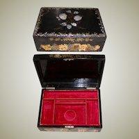 Large Antique Victorian Jewelry Chest Casket, Papier Mache & Mother of Pearl Box