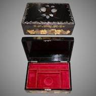 Large Antique Victorian Jewelry Chest Casket, Papier Mache & Mother of Pearl Box
