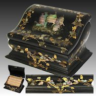 Lovely Antique Victorian Era Papier Mache Stationery Box, Writer's Casket, Chest