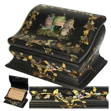 Lovely Antique Victorian Era Papier Mache Stationery Box, Writer's Casket, Chest