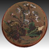 Antique Victorian Walnut & Beaded Needlepoint Footstool, Stool, Floral Motif