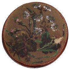 Antique Victorian Walnut & Beaded Needlepoint Footstool, Stool, Floral Motif