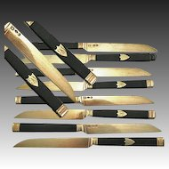 Superb Antique French Sterling Silver & 22K Gold Vermeil & Ebony Knife Set: 8 With Coq Mark: 1819