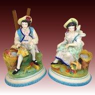 Antique Pair (2) Old Paris Porcelain Figures, Man & Woman, Spill Vase or Cigar Holder