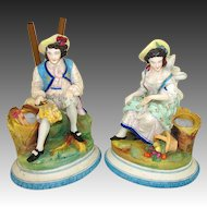 Antique Pair (2) Old Paris Porcelain Figures, Man & Woman, Spill Vase or Cigar Holder