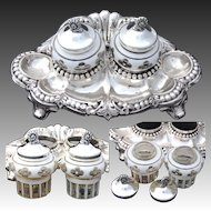 Antique .800 Silver Inkstand, Bohemian Layered Glass Inkwells