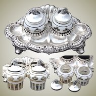 Antique .800 Silver Double Inkwell or Inkstand, Bohemian Layered Glass Inkwells