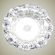 "Antique Whiting Gorham Sterling Silver 8.75"" Bowl, Ornate Art Nouveau Floral Bas Relief"