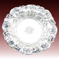 "Antique Whiting Gorham Sterling Silver 8.75"" Bowl, Ornate Art Nouveau Floral Bas Relief"