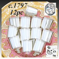 RARE Antique Set! c. 1797 French Sterling Silver 12 Pc Heavy Liqueur Cordials, Cups, Pre-Napoleon