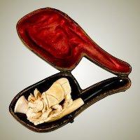 RARE Antique Figural Meerschaum Pipe, Orig. Fitted Case, a Rhinoceros