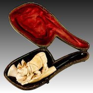 RARE Antique Figural Meerschaum Pipe, Orig. Fitted Case, a Rhinoceros