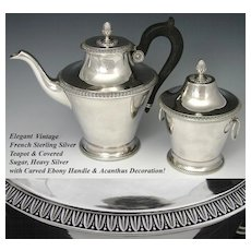 Lovely Vintage French Sterling Silver 2pc Set: Coffee or Tea Pot & Covered Sugar Bowl or Caddy
