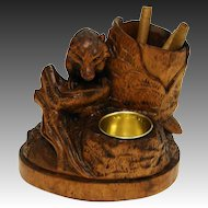 Charming Antique Black Forest Carved Tobacco or Cigar & Match Stand, Rare Fox Figure !