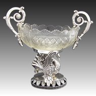 Antique Silver & Crystal Centerpiece, Bonboniere or Sugar, Swan Figure
