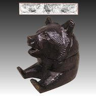 Antique Black Forest Carved Bear Single Inkwell, Paw Pen Tray, Black Glass Eyes