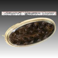 Antique Victorian Era Hair Art Brooch, French Artistry, Memorial Jewelry
