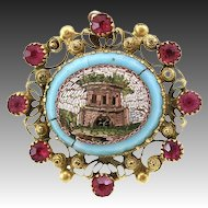 Antique Victorian Era Micro Mosaic 18K Gold & Ruby Brooch, Architectural Mosaic