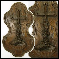 "Large Antique Black Forest Carved Wood 15"" Benitier, Seashell Holy Water Font"