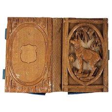 RARE Antique Victorian Era Black Forest Carved Carnet du Bal, Necessaire, Etui