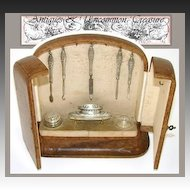 Unique Antique French Vanity Chest, 8pc Sterling Silver Manicure Set