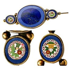 "Antique Victorian to Edwardian Grand Tour Italy Micro Mosaic 2 3/8"" Long Brooch, Lapis Lazuli, 18k, 14k Gold"
