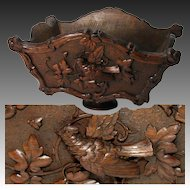 "Large Antique Black Forest 17"" Planter Box or Jardiniere, Centerpiece, Bird Figure"